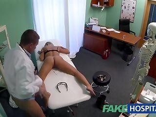 Slim ash-blonde handsomeness gets finger poked by kinky medic making love tube