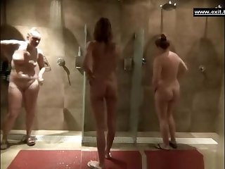 Gorgeous milfs in a public shower room