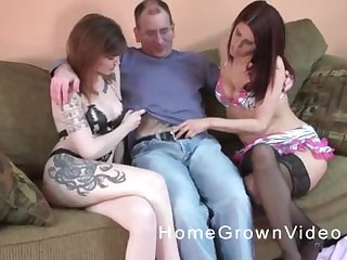Twosome tattooed busty MILF babes share a cock in a trilogy