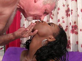 Ebony chick Shyra Foxx gets to taste an older man's white cock