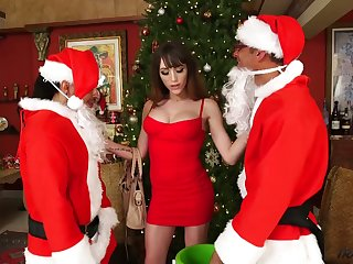 Yoke dudes in Santa Clause outfits fuck busty ladyboy Kylie Maria