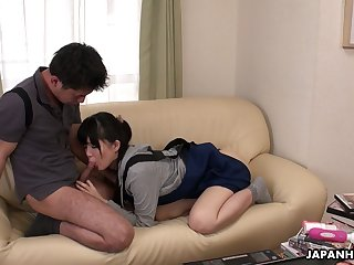 Shy Japanese girl Sena Sakura turned to shrink from insatiable cock sucker