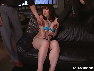 Big breasted Japanese lady Kaoru Hirayama enjoys bondage and masturbation