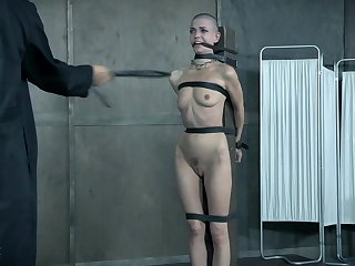 Undressed girl Abigail Dupree and a submissive guy abused by London River