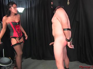 Brunette Mistress Haley spanks coupled with pegs her mature actress slave