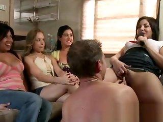 Hot cfnm slut gets a cumshot