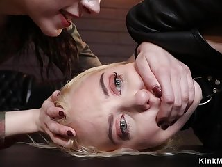 Blond Hair Newborn and dark haired lady lesbians having intercourse butt fucking