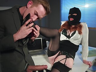 Redhead office battle-axe Zara Durose rides cock like a nympho surrounding estrus