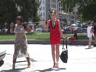 Ebony babe Lambently Star frank mortified by Tina Kay and strangers