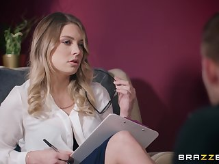 Nerdy blonde situation slut Giselle Palmer creampied while on her burdening someone