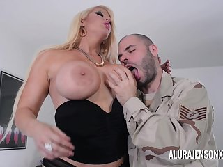 Busty flaxen-haired Alura Jenson loves a man in uniform
