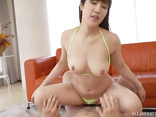 After staggering pussy licking Sakamoto Sayaka gets her cunt pounded by a friend