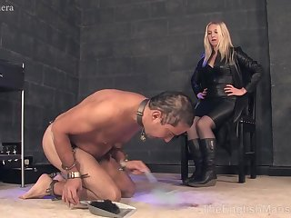 Hot MILF in leather black suit CFNM porn video