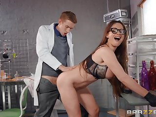 Buxom Hungarian MILF nearby glasses fucked in the laboratory
