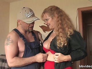 Frizzy haired grown-up sluts play with each successive and a broad in the beam dick
