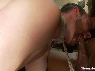 Ebony shemale in stockings screw male sub
