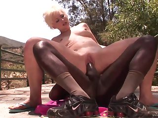 Hot mother Nora Skyy rides her first stupendous black cock