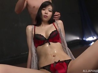 oiled Miyamura Nanako spreads her hands for a cock while she screams