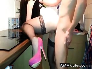 Fuck in the kitchenette with stockings and heels