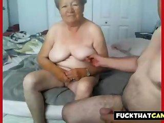 Granny plus grandpa naked on cam