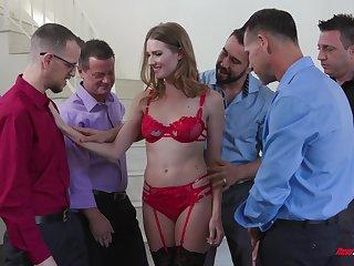 Slender harlot in peppery lingerie Ashley Lane serves a group of horny guys