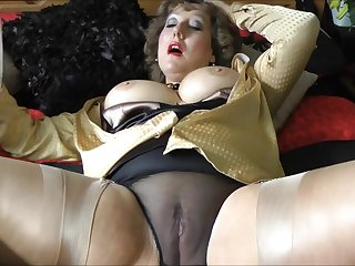 My horny aunt in stockings makes this alms-man cum!