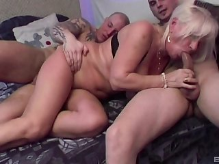 Mature untrained Lizzy loves having double penetration triptych