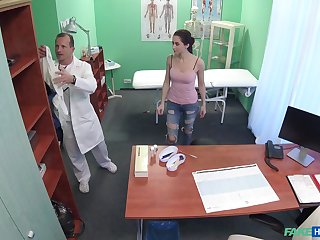 Patient Aruna needs to get naked for exam and gets fucked on the resemble closely