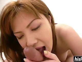 Beautiful Asian masturbates and sucks him off
