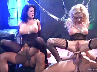 Well done blondes in fishnet procurement drilled doggystyle in a DP group sex