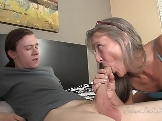 Small titted, of age lady is shacking up a younger man space fully giving him amazing sex preparation