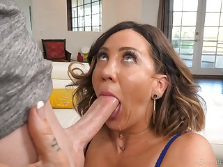 Sloppy blowjob added to facial for mommy after she gets lay bare