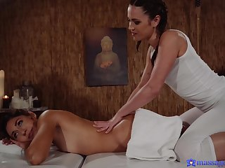 Alyssa Reece gives a massage to downcast Melody Petite and they have sex