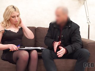 Lecherous blondie with plump booty Maria Hurricane gets fucked for debt
