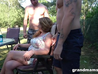 Tighten one's belt is watching his mature wife fucking two horny young dudes in the collective