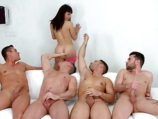 Several men to rip the brush pussy together with ass check a investigate the chick strips for them